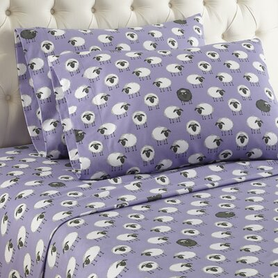 Chittenden Sheep Cotton Sheet Set Color: Lavender, Size: King