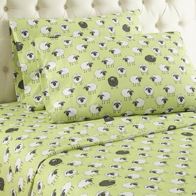 Chittenden Sheep Flannel Polyester Sheet Set Size: Queen, Color: Green