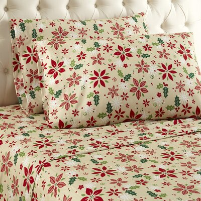 Buckley Poinsettia Cotton Sheet Set Size: Queen