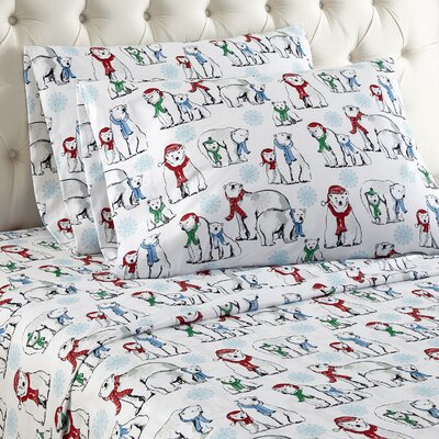 Buckner Polar Bears Cotton Sheet Set Size: Queen