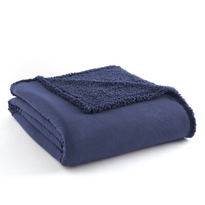 Micro Flannel� Sherpa Blanket Size: Full/Queen, Color: Smokey Mt. Blue
