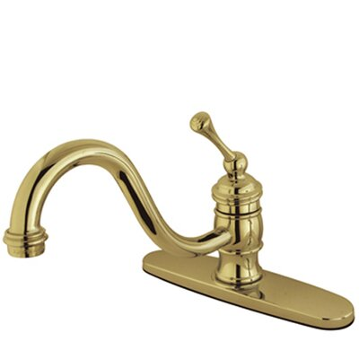 Deck Mount Single Handle Centerset Kitchen Faucet with Buckingham Lever Handle Finish: Polished Brass