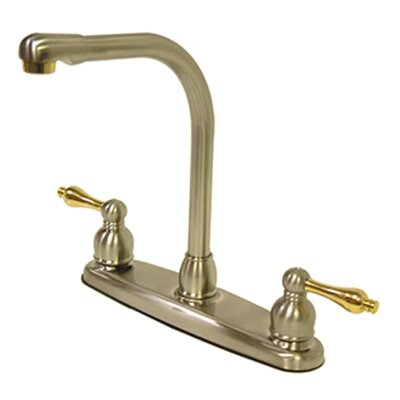 Victorian Double Handle Centerset High Arch Kitchen Faucet with Metal Lever Handles Finish: Satin Nickel/Polished Brass