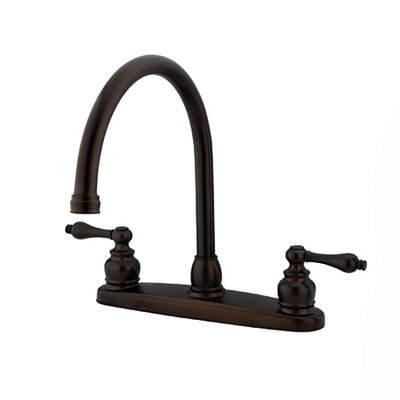 Victorian Double Handle Centerset Goose Neck Kitchen Faucet with Metal Handles Finish: Oil Rubbed Bronze