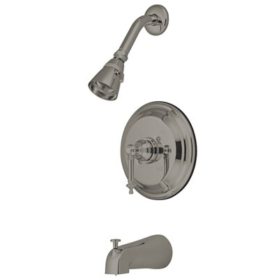 Volume Control Tub and Shower Faucet with Tampleton Lever Handles Finish: Satin Nickel
