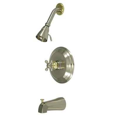 Metropolitan Diverter Tub and Shower Faucet Trim  with Buckingham Cross Handles Finish: Satin Nickel/Polished Brass
