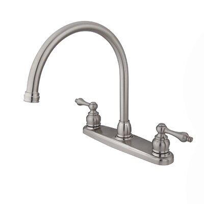 Victorian Double Handle Centerset Goose Neck Kitchen Faucet with Metal Handles Finish: Satin Nickel