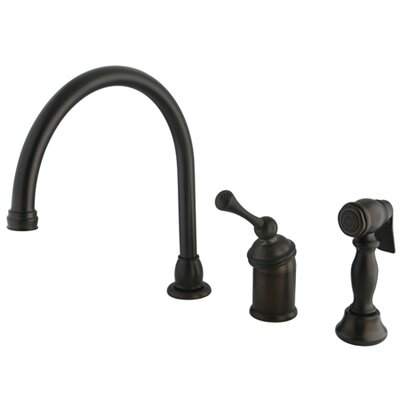Vintage Widespread Kitchen Faucet with Buckingham Lever Handle and Brass Side Spray Finish: Oil Rubbed Bronze