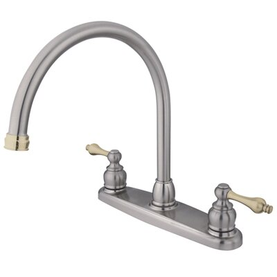 Victorian Double Handle Centerset Goose Neck Kitchen Faucet with Metal Handles Finish: Satin Nickel/ Polished Brass