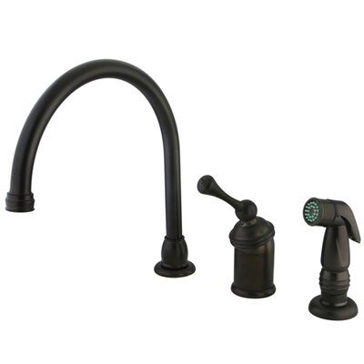 Vintage Widespread Kitchen Faucet with Buckingham Lever Handle and Plastic Side Spray Finish: Oil Rubbed Bronze