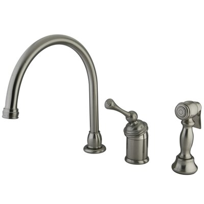 Vintage Widespread Kitchen Faucet with Buckingham Lever Handle and Brass Side Spray Finish: Satin Nickel