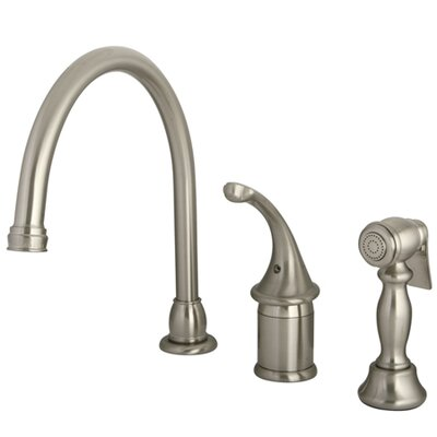 One Handle Widespread Kitchen Faucet with Brass Side Spray Finish: Satin Nickel Finish