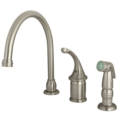 One Handle Widespread Kitchen Faucet with Plastic Side Spray Finish: Satin Nickel Finish