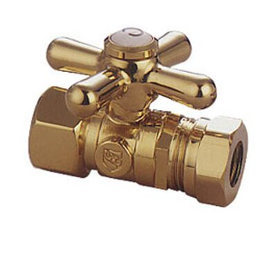 Decorative Quarter Turn Valve with Cross Handle Finish: Polished Brass