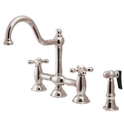 Double Handle Widespread Bridge Faucet with American Cross Handle Finish: Satin Nickel