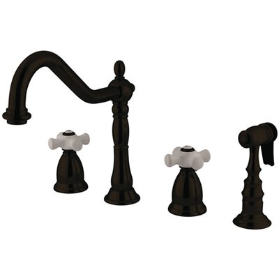 Heritage Double Handle Widespread Kitchen Faucet with Porcelain Cross Handle Finish: Vintage Brass