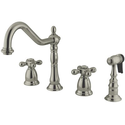 Heritage Double Handle Widespread Kitchen Faucet with American Cross Handle Finish: Satin Nickel