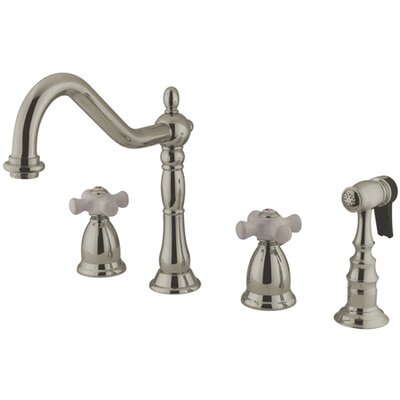 Heritage Double Handle Widespread Kitchen Faucet with Porcelain Cross Handle Finish: Satin Nickel