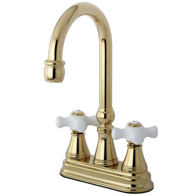 Madison Centerset Bar Faucet with Porcelain Cross Handles Finish: Polished Brass