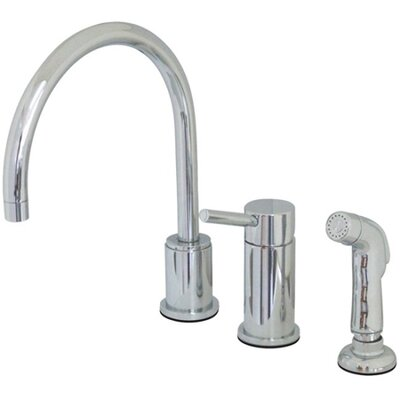 Widespread Single Handle Kitchen Faucet with Side Spray Finish: Chrome
