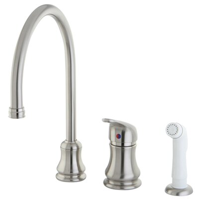 Daytona Single Handle Widespread Kitchen Faucet with Legacy Handle and Side Spray Finish: Satin Nickel