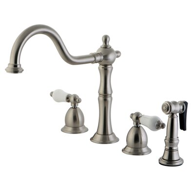 Heritage Double Handle Widespread Kitchen Faucet with Brass Side Spray and Porcelain Lever Handles Finish: Satin Nickel