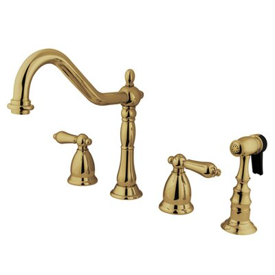 Heritage Double Handle Widespread Kitchen Faucet with American Lever Handle Finish: Polished Brass