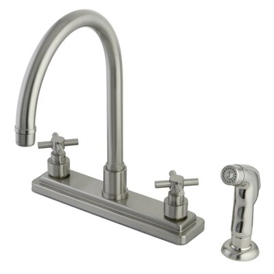 Tampa Two Handle Centerset Kitchen Faucet with Elinvar Cross Handles Finish: Satin Nickel