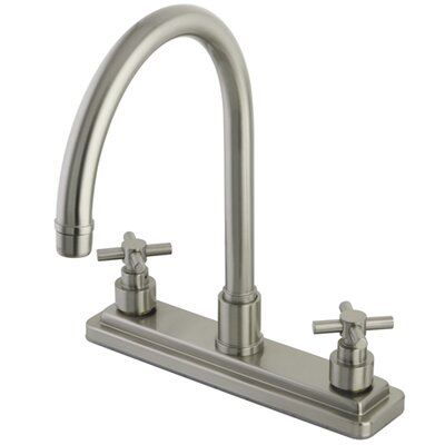 Tampa Double Handle Centerset Kitchen Faucet with Elinvar Cross Handles Finish: Satin Nickel
