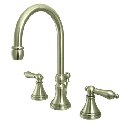 Madison Widespread Bathroom Faucet with Metal Lever Handle Finish: Satin Nickel