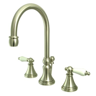 Madison Widespread Double Handle Bathroom Faucet with Drain Assembly Finish: Satin Nickel