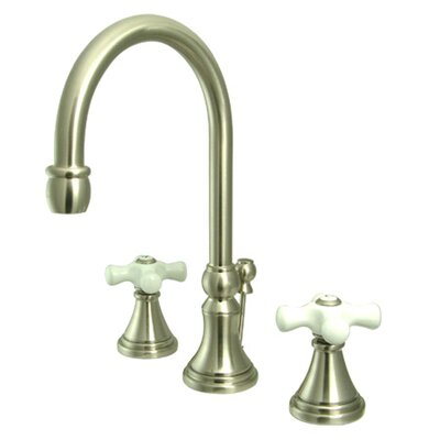 Madison Widespread Bathroom Faucet with Double Porcelain Cross Handles Finish: Satin Nickel