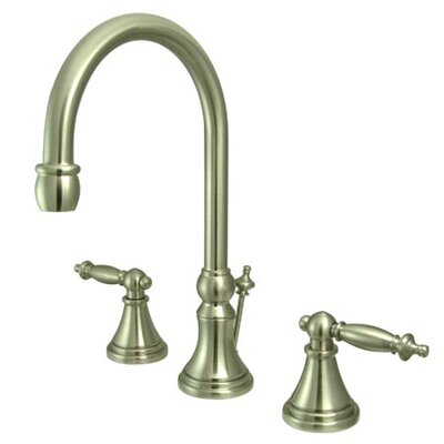 Widespread Double Handle Bathroom Faucet with Drain Assembly Finish: Satin Nickel