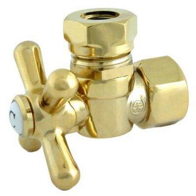 1.87 Decorative Quarter Turn Valve with Cross Handle Finish: Polished Brass