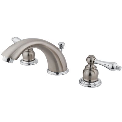 Widespread Double Handle Bathroom Faucet with Drain Assembly Finish: Satin Nickel/Polished Chrome