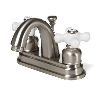 Centerset Bathroom Faucet with Double Porcelain Cross Handles Finish: Satin Nickel