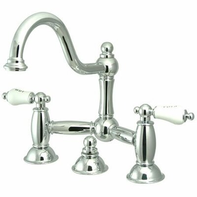 Centerset Bathroom Faucet with Double Porcelain Lever Handles Finish: Polished Chrome