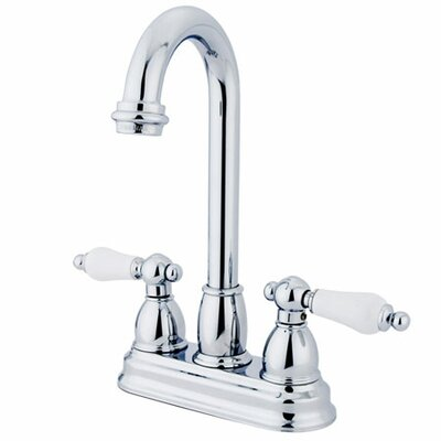 Double Handle Centerset Bar Faucet with Porcelain Lever Handles Finish: Polished Chrome