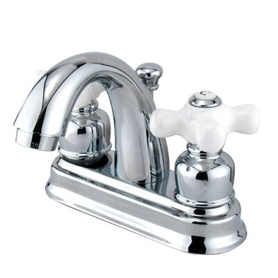 Centerset Bathroom Faucet with Double Porcelain Cross Handles Finish: Polished Chrome