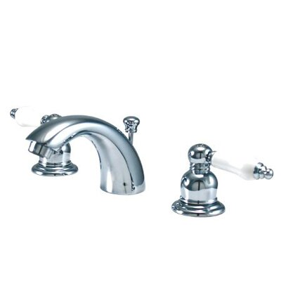 Elizabeth Mini Widespread Bathroom Faucet with Double Porcelain Lever Handles Finish: Satin Nickel/Polished Brass