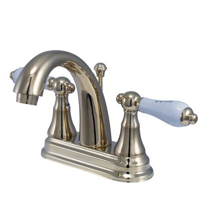 Elizabeth Centerset Bathroom Faucet with Double Porcelain Lever Handles Finish: Polished Brass