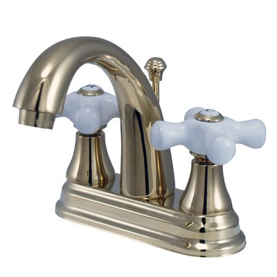 Elizabeth Centerset Bathroom Faucet with Double Porcelain Cross Handles Finish: Polished Brass