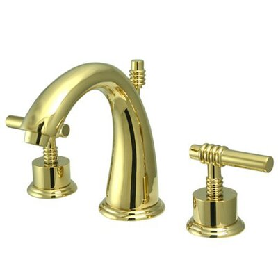 Milano Widespread Bathroom Faucet with Double Lever Handles Finish: Polished Brass