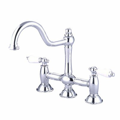 Double Handle Widespread Kitchen Faucet with Porcelain Lever Handles Finish: Polished Chrome