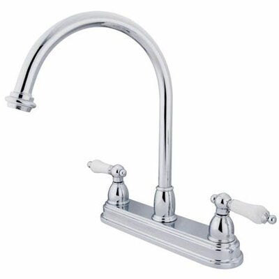 Double Handle Centerset Kitchen Faucet with Porcelain Lever Handles Finish: Polished Chrome