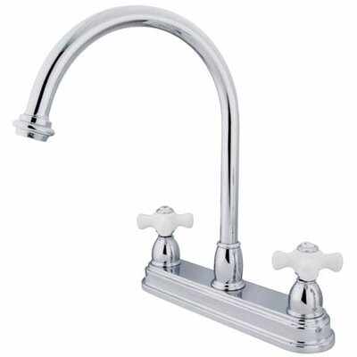 Double Handle Centerset Kitchen Faucet with Porcelain Cross Handles Finish: Polished Chrome