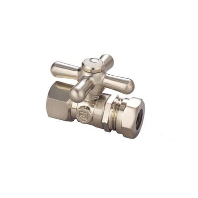 Made to Match Straight Stop Quarter Turn Valve with Metal Cross Handles in Satin Nickel