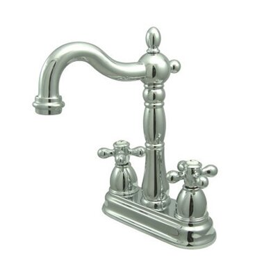 Heritage Double Handle Centerset Bar Faucet with Metal Cross Handles Finish: Polished Chrome