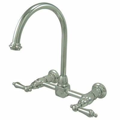 Heritage Double Handle Wall Mount Bridge Kitchen Faucet with Metal Lever Handles Finish: Polished Chrome