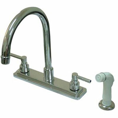 Tampa Double Handle Centerset Kitchen Faucet with Elinvar Lever Handles and Side Spray Finish: Polished Nickel